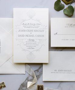 letterpress wedding invitation with Art Deco feel