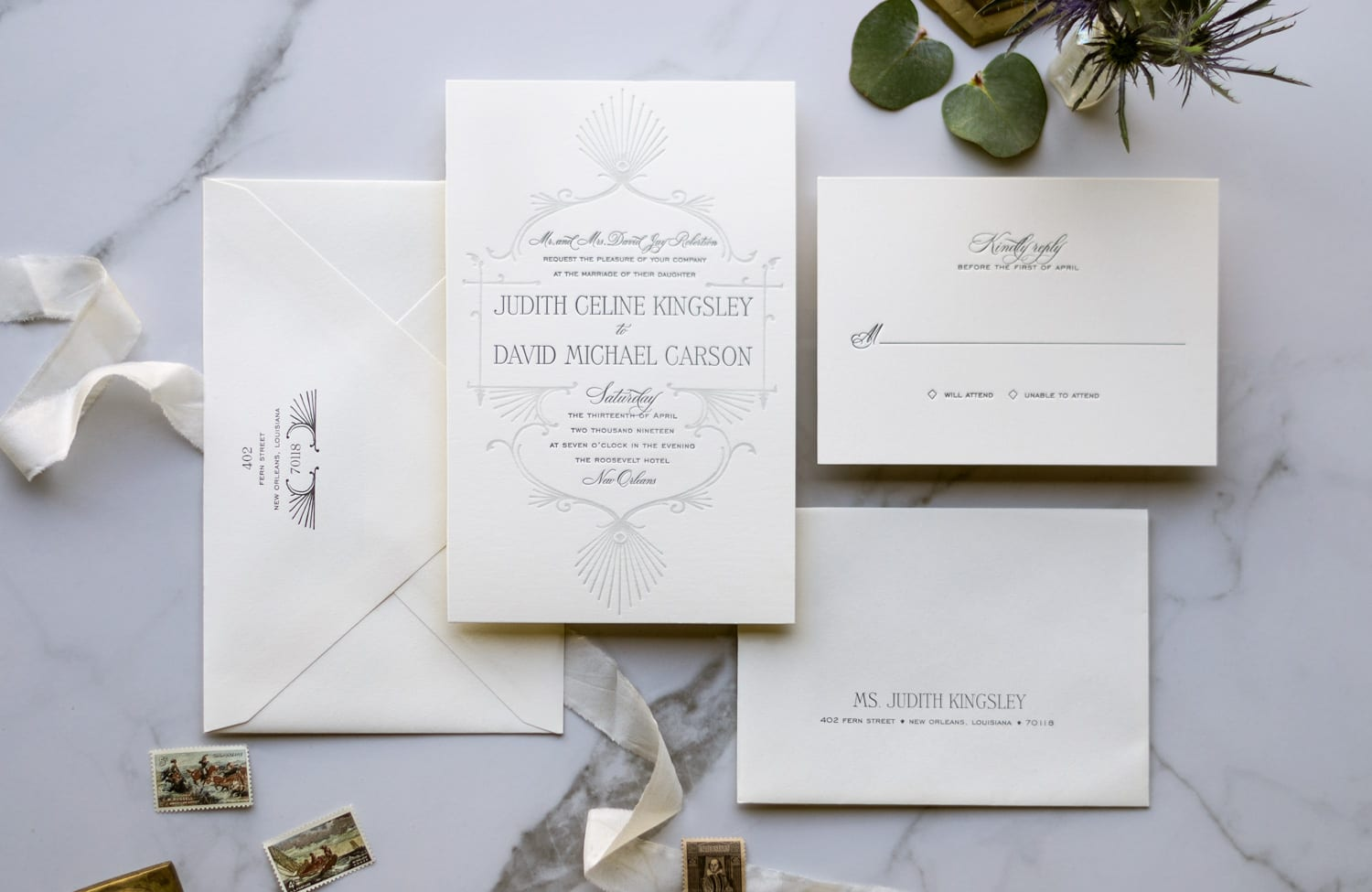 letterpress wedding invitation with Art Deco feel