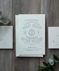 letterpress wedding invitation distillery label