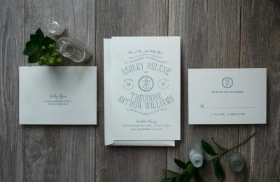 letterpress wedding invitation distillery label