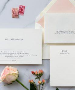 modern minimalist letterpress wedding invitation