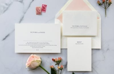 modern minimalist letterpress wedding invitation