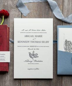letterpress wedding invitation book inspired