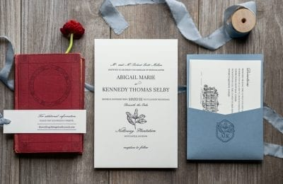 letterpress wedding invitation book inspired