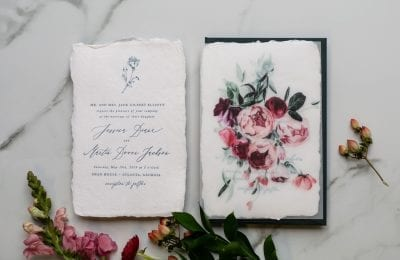 letterpress and watercolor invitation with peony bouquet