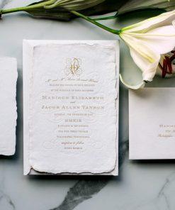 romantic flourishes letterpress wedding invitations