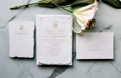 romantic flourishes letterpress wedding invitations